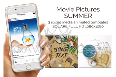 SUMMER Tropical Travel Square Social Media Animated Template Set