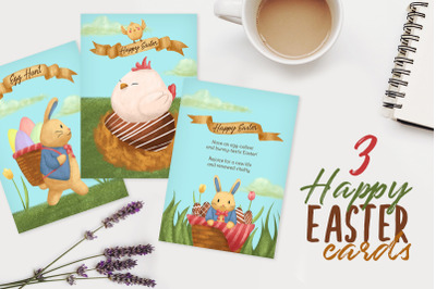 3 Happy Easter  Cards