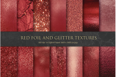 Red Foil and Glitter Textures