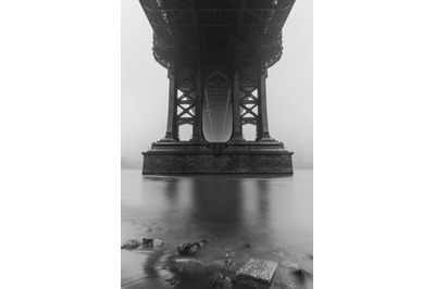 View From under the Manhattan Bridge on a foggy day