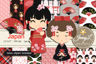 Japan Digital Papers and Clipart