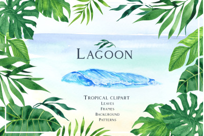 Lagoon. Tropical watercolor clipart