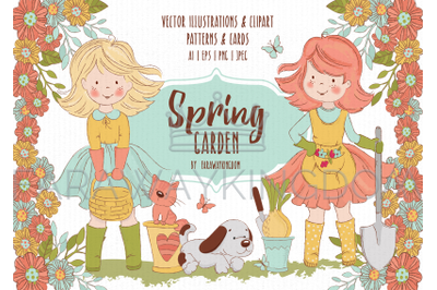 SPRING GARDEN Woman Season Nature Work Vector Illustration Set