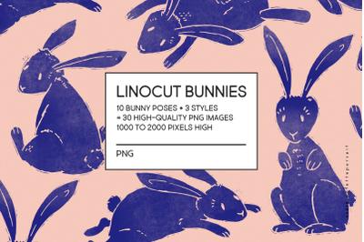 Linocut bunny rabbit clip art, Easter bunny clipart, Easter clipart