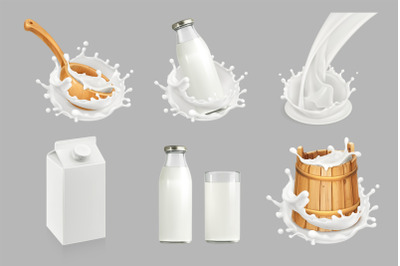 Milk and yogurt splashes, three vector sets