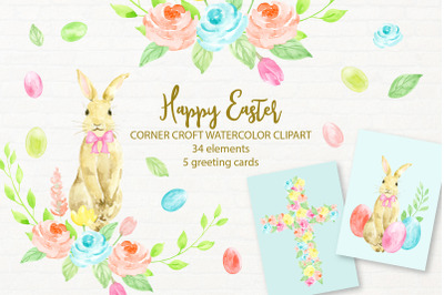 Watercolor Clipart Happy Easter