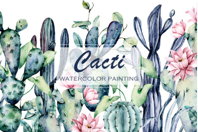 Cacti, watercolor floral set. Hand painting flowers.