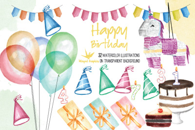 Birthday party 32 watercolor illustrations