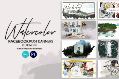 Facebook Post Banners Watercolor
