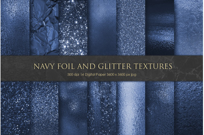 Navy Foil and Glitter Textures