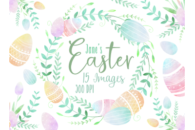 Watercolor Easter Borders Clipart