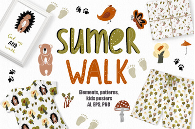 Summer Walk - Kids vector clipart