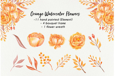 Orange watercolor flowers