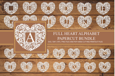 Heart alphabet paper cut designs