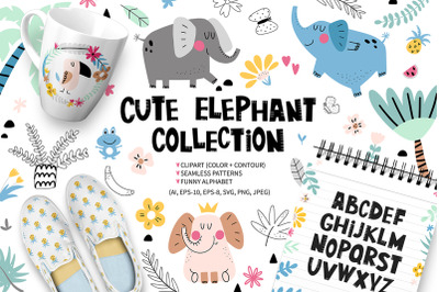 Cute elephant collection