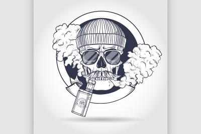Color hipster skull