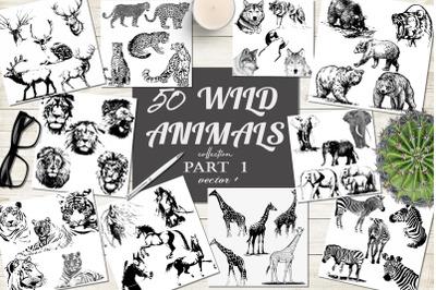 50 wild animals hand drawn silhouette vector illustrations