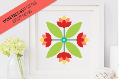 Lotus Quartet Barn Quilt SVG Cut File
