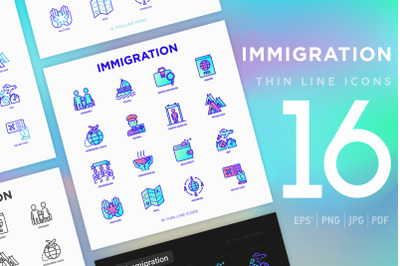 Immigration | 16 Thin Line Icons Set