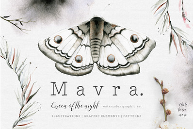 MAVRA. Watercolor moths graphic set