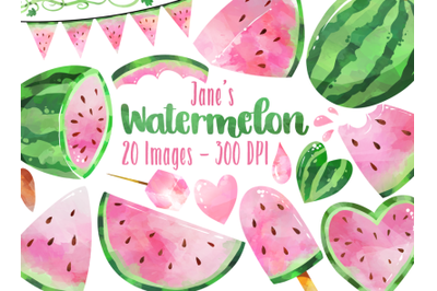 Watercolor Pink Watermelon Clipart