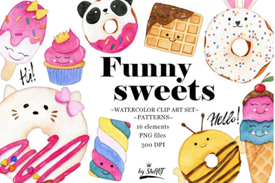 Watercolor Cute Sweets Clipart