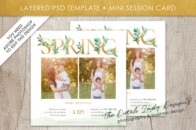 PSD Photo Spring Mini Session Card Template #40