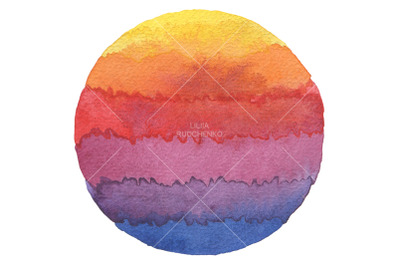 Abstract rainbow acrylic and watercolor circle painted background. Tex