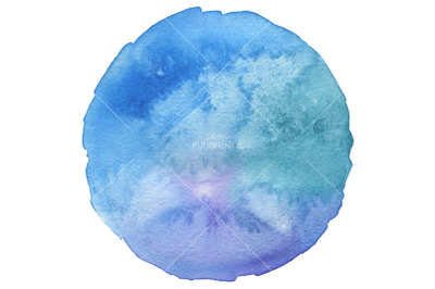 Circle watercolor painted background. Paper texture.