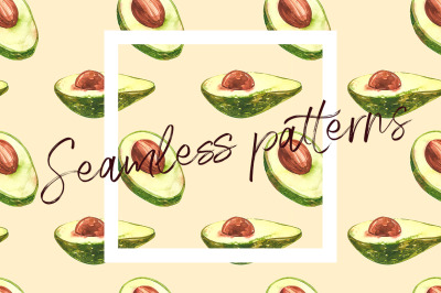 Avocado in botanical style