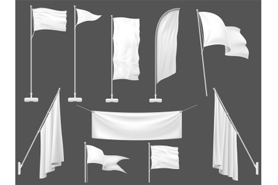 Mockup flag. White flags, blank canvas banner and fabric flag on flagp