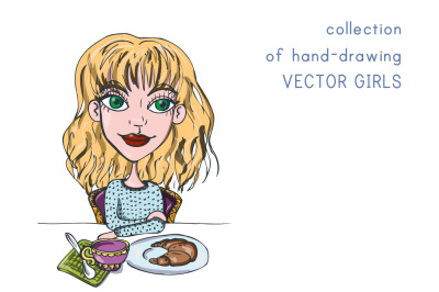 Collection of hand-drawing VECTOR GIRLS  12