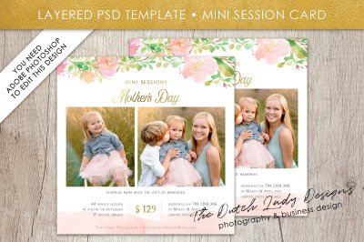 PSD Mother's Day Photo Session Card Template #41