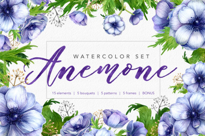 Watercolor anemone set