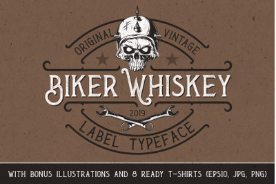Biker Whiskey Layered Font + Bonus