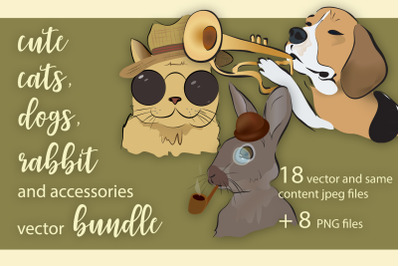 Cute Cats, Dogs and Rabbit Design Bundle