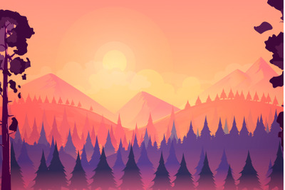 Sunset landscape with mountain and forest