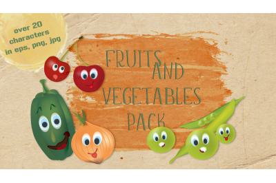3D Cartoon Bundle of Fruits and Vegetables with Facial Expressions.