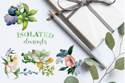 Bouquets with succulents Watercolor png