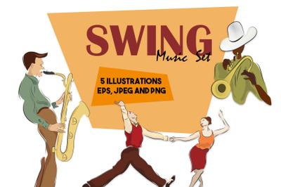 Swing Music Set. Illustration Bundle with Lindy Hop Dancing Couples