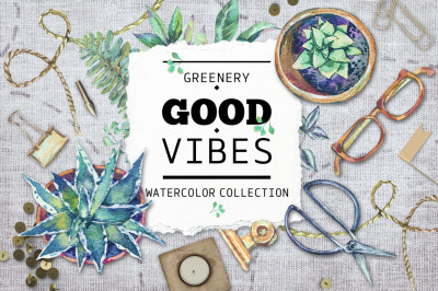 Greenery good vibes, watercolor set