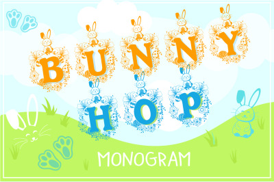 The Bunny Hop: Easter Monogram Font