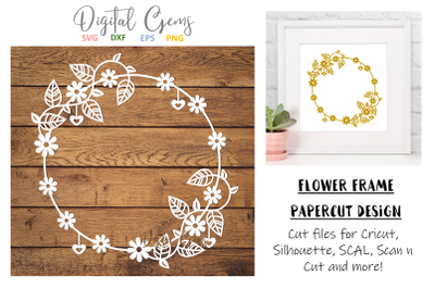 Flower frame papercut design