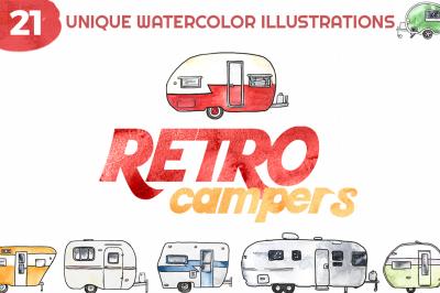 Retro Camper Watercolor Illustrations