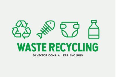 Waste Recycling Line Icons