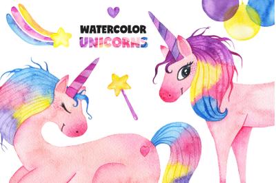 Cute watercolor unicorns collection
