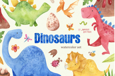 Watercoolor Dinosaurs Clipart Set