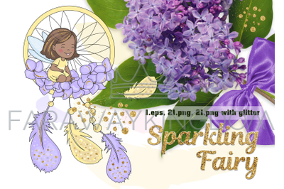 SPARKLING FAIRY Glitter Cartoon Vector Illustration Set