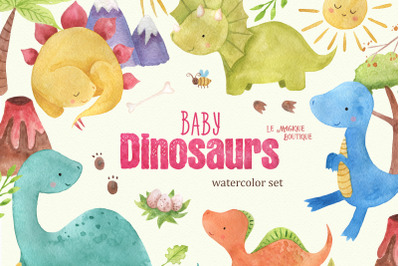 Baby Dinosaurs Watercolor Clipart Set