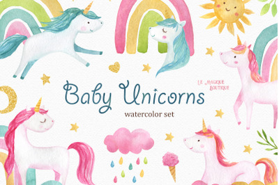 Baby Unicorns Watercolor Clipart Set